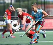 Canterbury's Sioned Fox challenges with Hamburg's Lisa Altenburg during their opening game of the EHCC 2017 at Den Bosch HC, The Netherlands, 2nd June 2017