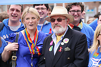 Senator David Norris (right) with the Pride in Action group at the Dublin Pride 2012 LGBTQ festival parade  Dublin City Ireland. Saturday 30th June 2012.