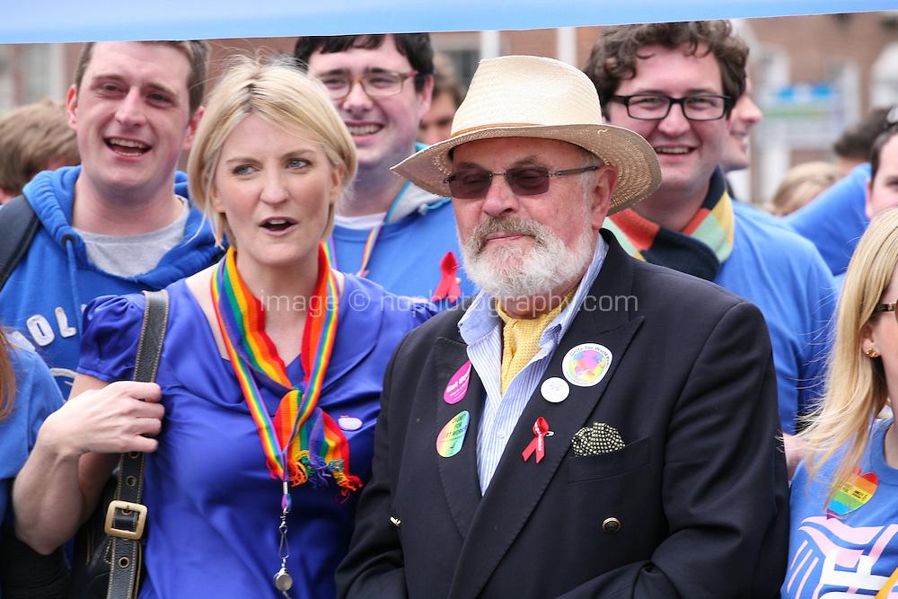 Senator David Norris (right) with the Pride in Action group at the Dublin Pride 2012 LGBTQ festival parade  Dublin City Ireland. Saturday 30th June 2012.
