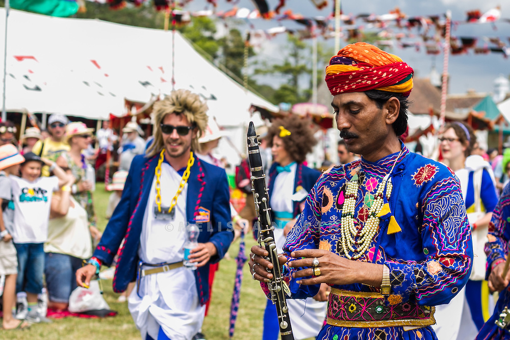 Jaipur Brass Band lead the parade at Camp Bestival, Lulworth, UK on Saturday 28th July 2012. Photo by Melissa North.  Ref B2779