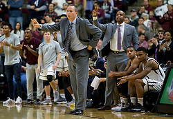 Texas A&M head coach Billy Kennedy calls out to his team during the first half of an NCAA college basketball game against Florida Tuesday, Jan. 2, 2018, in College Station, Texas. (AP Photo/Sam Craft)