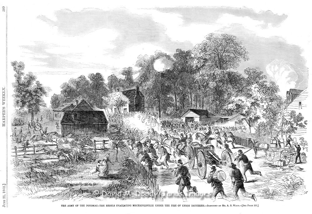 Civil War: Rebels evacuating Mechanicsville, Virginia under Union fire.Harper's Weekly, June. 21, 1862. Page 389