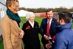 Marina Dolman and Mark Ashton chat to Lee Johnson as Representatives of Bristol City take part in a ceremony to plant tree's in memory of the 7 Bristol City player's who lost their lives serving during WW1 - Rogan/JMP - 09/11/2018 - FOOTBALL - Failand Training Ground - Bristol, England.