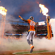 Denver Broncos wide receiver Demaryius Thomas (88) during an NFL regular season game against the San Diego Chargers on Thursday, Oct. 23, 2014 in Denver. The Broncos won the game, 35-21. (AP Photo/Ric Tapia)