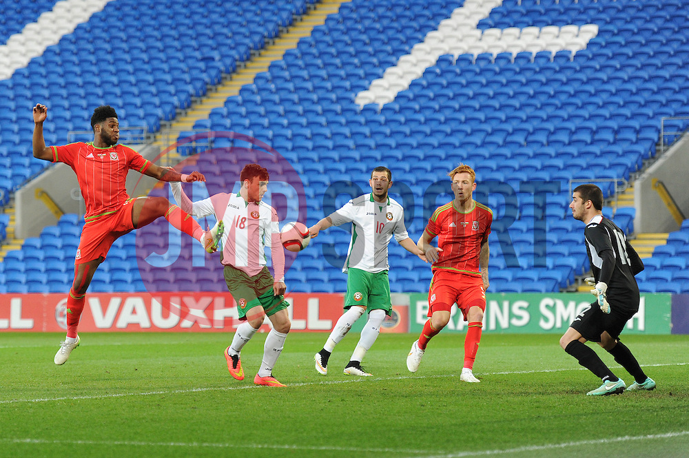 Ellis Harrison of Wales u21s (Bristol Rovers) takes a shot at goal. - Photo mandatory by-line: Dougie Allward/JMP - Mobile: 07966 386802 - 31/03/2015 - SPORT - Football - Cardiff - Cardiff City Stadium - Wales v Bulgaria - U21s International Friendly