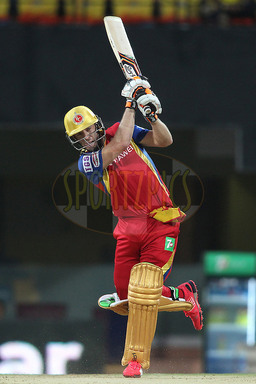 AB De Villiers of the Royal Challengers Bangalore attacks a delivery during match 37 of the Pepsi IPL 2015 (Indian Premier League) between The Chennai Superkings and The Royal Challengers Bangalore held at the M. A. Chidambaram Stadium, Chennai Stadium in Chennai, India on the 4th May April 2015.<br /> <br /> Photo by:  Shaun Roy / SPORTZPICS / IPL