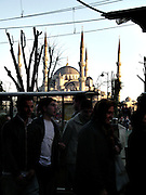 Istanbul. City buzzling and the Blu Mosque on the back.