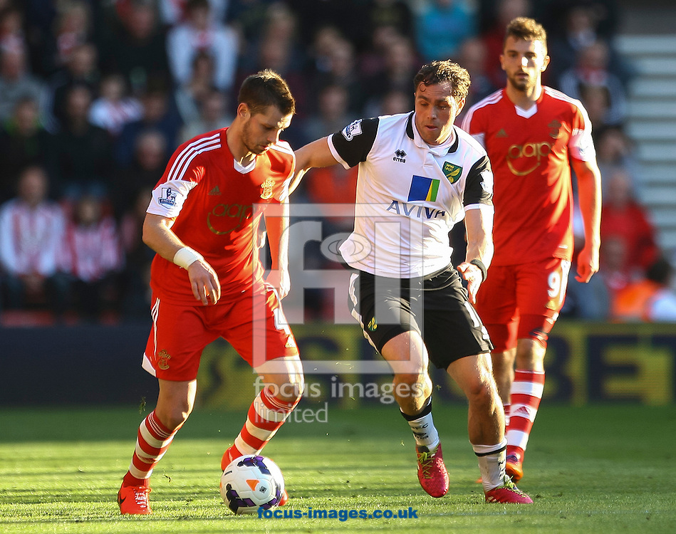 Morgan Schneiderlin of Southampton and Johan Elmander of Norwich City compete for the ball during the Barclays Premier League match at the St Mary's Stadium, Southampton<br /> Picture by Daniel Chesterton/Focus Images Ltd +44 7966 018899<br /> 15/03/2014