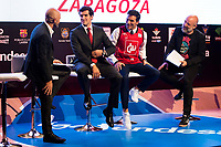 Sport journalist Antonio Lobato, Cai Zaragoza player Tomas Bellas, Tv Host Luis Ladorrera and comedian Goyo Jimenez during the presentation of the new season of La Liga Endesa 2016-2017 in Madrid. September 20, 2016. (ALTERPHOTOS/Borja B.Hojas)