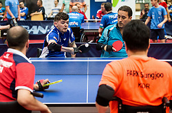 Thomas MATTHEWS of Great Britain and Guillermo Jose BUSTAMANTE SIERRA of Chile during Team events at Day 4 of 15th Slovenia Open - Thermana Lasko 2018 Table Tennis for the Disabled, on May 12, 2018, in Dvorana Tri Lilije, Lasko, Slovenia. Photo by Vid Ponikvar / Sportida
