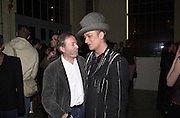 Founder and editor of I.D. Terry Jones and Boy george. Smile1-D in association with Emporio Armani.  Wapping Power Station. 3 April 2001. © Copyright Photograph by Dafydd Jones 66 Stockwell Park Rd. London SW9 0DA Tel 020 7733 0108 www.dafjones.com