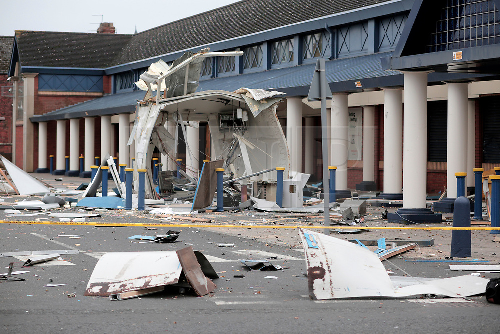 © Under licence to London News Pictures. 26/10/2017 A cash machine blown up by thiefs on Darlington's Neasham Road in County Durham UK. Photo Credit: Stuart Boulton/LNP