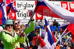 Fans during 2nd Run of 8th Men's Giant Slalom - Pokal Vitranc 2012 of FIS Alpine Ski World Cup 2011/2012, on March 10, 2012 in Vitranc, Kranjska Gora, Slovenia.  (Photo By Vid Ponikvar / Sportida.com)