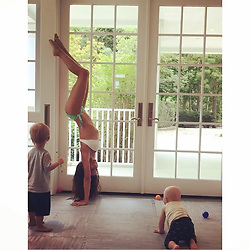 "Hilaria Baldwin releases a photo on Instagram with the following caption: ""My boys make me swoon \ud83d\ude0d\ud83d\ude0d...nothing better than getting kissed and painted while doing some summer yoga \ud83d\ude02\ud83d\ude02...sound up! I\u2019m a judge for @womenshealthmag 2017 #NextFitnessStar competition. Help me vote for the next face of fitness at whnextfitnessstar.com  Fitness isn't about what you look like on the outside-- it's the journey to feeling healthy, strong and confident on the inside. It's being the best version of ourselves and inspiring others to do the same. Voting is open until August 4!"". Photo Credit: Instagram *** No USA Distribution *** For Editorial Use Only *** Not to be Published in Books or Photo Books ***  Please note: Fees charged by the agency are for the agency's services only, and do not, nor are they intended to, convey to the user any ownership of Copyright or License in the material. The agency does not claim any ownership including but not limited to Copyright or License in the attached material. By publishing this material you expressly agree to indemnify and to hold the agency and its directors, shareholders and employees harmless from any loss, claims, damages, demands, expenses (including legal fees), or any causes of action or allegation against the agency arising out of or connected in any way with publication of the material."