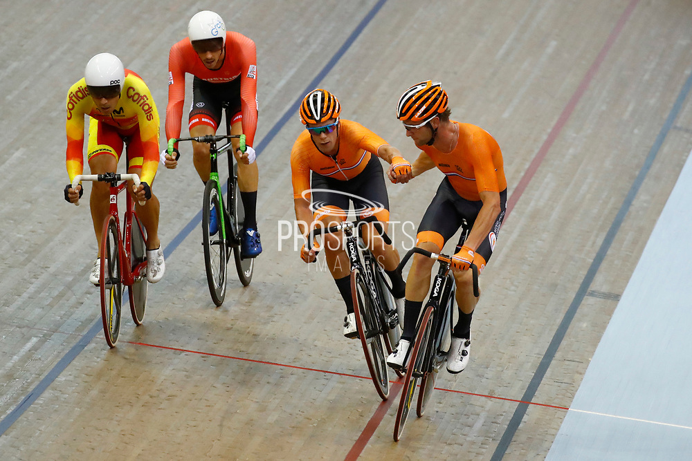 Men Madison, Roy Pieters and Wim Stroetinga (Netherlands) during the Track Cycling European Championships Glasgow 2018, at Sir Chris Hoy Velodrome, in Glasgow, Great Britain, Day 5, on August 6, 2018 - Photo luca Bettini / BettiniPhoto / ProSportsImages / DPPI<br /> - Restriction / Netherlands out, Belgium out, Spain out, Italy out -