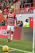 Hamilton Academical midfielder Dougie Imrie (7) takes a corner kick  during the Ladbrokes Scottish Premiership match between Hamilton Academical FC and Celtic at New Douglas Park, Hamilton, Scotland on 24 November 2018. Pic Mick Atkins