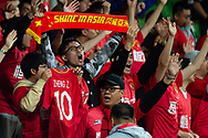 MELBOURNE, AUSTRALIA - APRIL 23: Guangzhou fans cheer on ahead of the match during the AFC Champions League Group Stage match between Melbourne Victory and Guangzhou Evergrande at AAMI Park on April 23, 2019 in Melbourne, Australia. (Photo by Speed Media/Icon Sportswire)