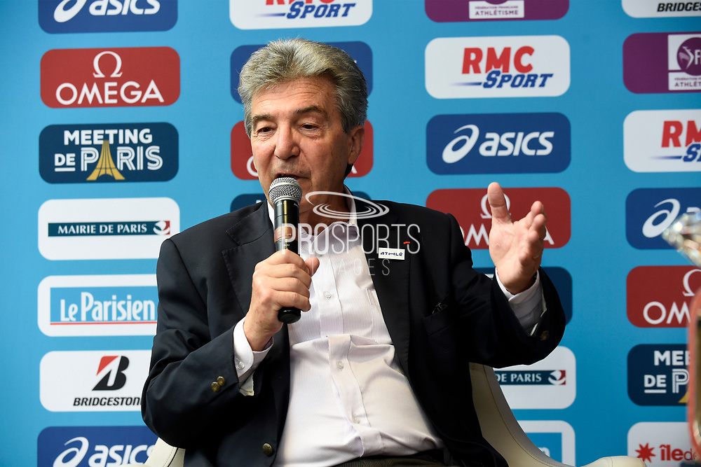Andre Giraud (FFA President) during press conference of Meeting de Paris 2018, Diamond League, at Hotel Marriott, in Paris, France, on June 29, 2018 - Photo Jean-Marie Hervio / KMSP / ProSportsImages / DPPI