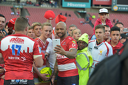28-07-18 Emirates Airline Park, Johannesburg. Super Rugby semi-final Emirates Lions vs NSW Waratahs.  Lionel Mapoe takes a selfie with fans. <br />  Picture: Karen Sandison/African News Agency (ANA)