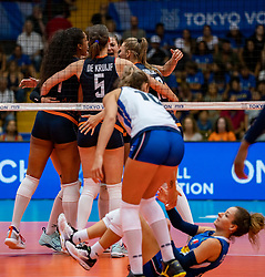 04-08-2019 ITA: FIVB Tokyo Volleyball Qualification 2019 / Netherlands, - Italy Catania<br /> last match pool F in hall Pala Catania between Netherlands - Italy for the Olympic ticket. Italy win 3-0 and take the ticket to the Olympics / Celeste Plak #4 of Netherlands, Robin de Kruijf #5 of Netherlands, Anne Buijs #11 of Netherlands, Monica De Gennaro #6 of Italy