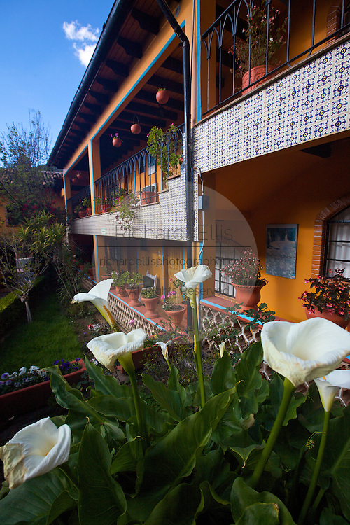 The Don Bruno Hotel in Angangueo, Mexico in the center of the Monarch Butterfly Biosphere Reserves in central Mexico in Michoacan State. Each year hundreds of millions Monarch butterflies mass migrate from the U.S. and Canada to Oyamel fir forests in the volcanic highlands of central Mexico. North American monarchs are the only butterflies that make such a massive journey—up to 3,000 miles (4,828 kilometers).