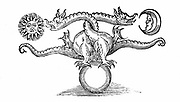 Alchemical symbol of transmutation of base metal (Earth at bottom) into Gold (Sun) and  Silver (Moon) through the agency of the dragon (Mercury - volatility).  From 'Theatrum Chemicum Britannicum' Elias Ashmole (London 1652). Woodcut.