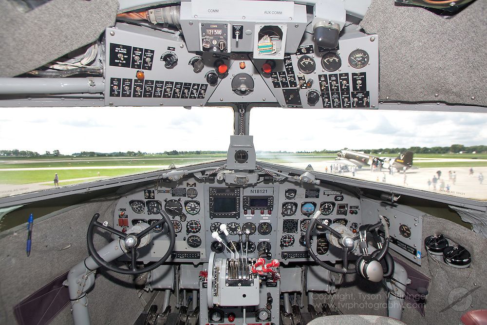 """A view of the instrument panel inside the highest-time DC-3 still flying, N18121. """"Great Silver Fleet"""" formerly flew as C-47 AF 42-56630."""