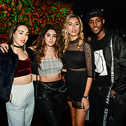 Chloe Adlerstein, Claudia Sowaha, Lilly Douse and Stefan Pierre attend Bachelor girls wrap party after Channel 5 serial of The Bachelor girls 2019 UK  17 desperate female complete to win Alex Marks. Five Eliminated girls continues enjoy the single life party at Balle Ballerson in fact, in the UK there are 1.1 millions female more than male on 27 March 2019, London, UK.