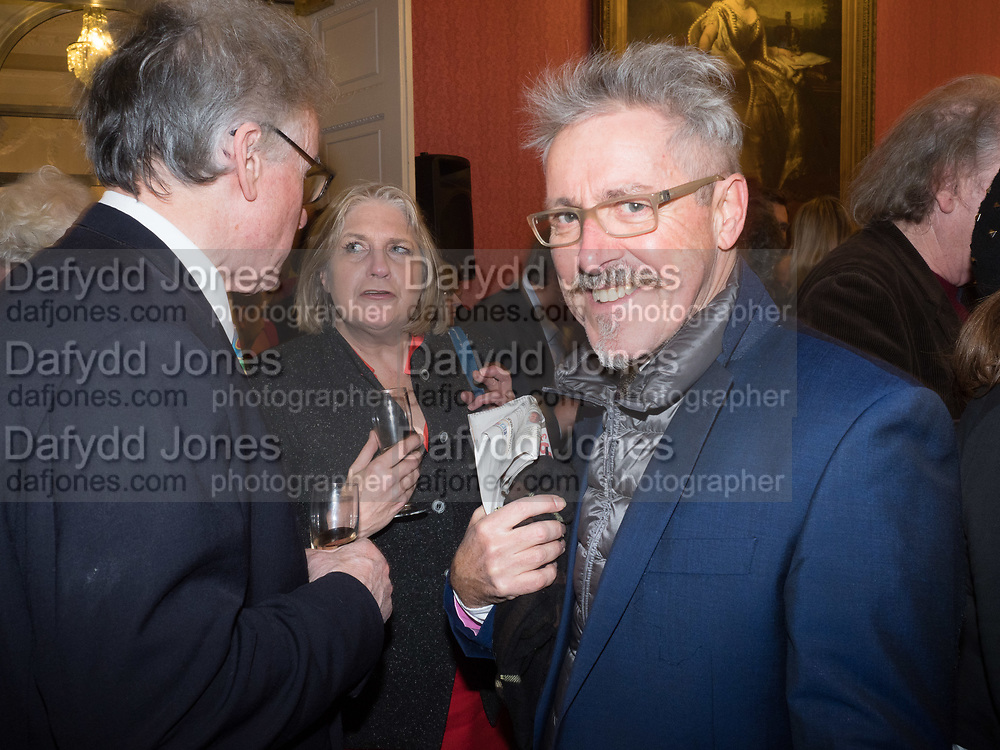 ANDREW BARROW; ANN SOMERSET; GRIFF RHYS JONES, Literary Review Christmas drinks and  Bad Sex in fiction Awards, In and Out club. St. James's Sq. London. 30 November 2017