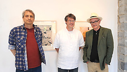 Pictured at the recent opening of  'Song Lines' were Daniel Lipstein ,John Mulloy and Niall Naessens at the Custom House Studios Westport, the exhibition continues at the gallery day until June 26th.<br />Pic Conor McKeown