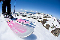 Skier looking over edge at Kirkwood ski resort near Lake Tahoe, CA.<br />