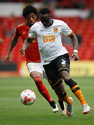 Ryan Mendes of Nottingham Forest (L) and Moses Odubajo of Hull City in action - Mandatory byline: Jack Phillips / JMP - 07966386802 - 3/10/2015 - FOOTBALL - The City Ground - Nottingham, Nottinghamshire - Nottingham Forest v Hull City - Sky Bet Championship