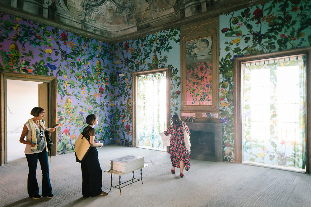 PALERMO, ITALY - 16 JUNE 2018: &quot;FalTheatre of the Sun&quot;, a mixed media installation by Fallen Fruit, is seen here at Palazzo Butera during Manifesta 12, the European nomadic art biennal, in Palermo, Italy, on June 16th 2018.<br /> <br /> Manifesta is the European Nomadic Biennial, held in a different host city every two years. It is a major international art event, attracting visitors from all over the world. Manifesta was founded in Amsterdam in the early 1990s as a European biennial of contemporary art striving to enhance artistic and cultural exchanges after the end of Cold War. In the next decade, Manifesta will focus on evolving from an art exhibition into an interdisciplinary platform for social change, introducing holistic urban research and legacy-oriented programming as the core of its model.<br /> Manifesta is still run by its original founder, Dutch historian Hedwig Fijen, and managed by a permanent team of international specialists.<br /> <br /> The City of Palermo was important for Manifesta&rsquo;s selection board for its representation of two important themes that identify contemporary Europe: migration and climate change and how these issues impact our cities.