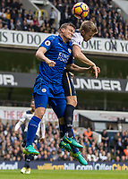 Football - 2016 / 2017 Premier League - Tottenham Hotspur vs. Leicester City<br /> <br /> Wes Morgan of Leicester City and Eric Dier of Tottenham  compete for a header at White Hart Lane.<br /> <br /> COLORSPORT/DANIEL BEARHAM