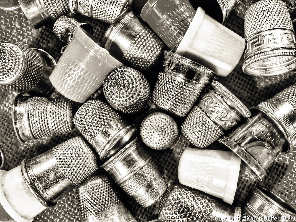 Thimbles in an abstract pattern, black and white. <br /> <br /> <br /> <br /> <br /> ALL RIGHTS RESERVED NOT FOR USE WITHOUT PERMISSION OF PHOTOGRAPHER KAREN PULFER FOCHT