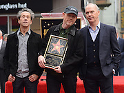 RON HOWARD + BRIAN GRAZER + MICHAEL KEATON at his second Walk of Fame ceremony held @ 6931 Hollywood blvd. December 10, 2015<br /> ©Exclusivepix Media