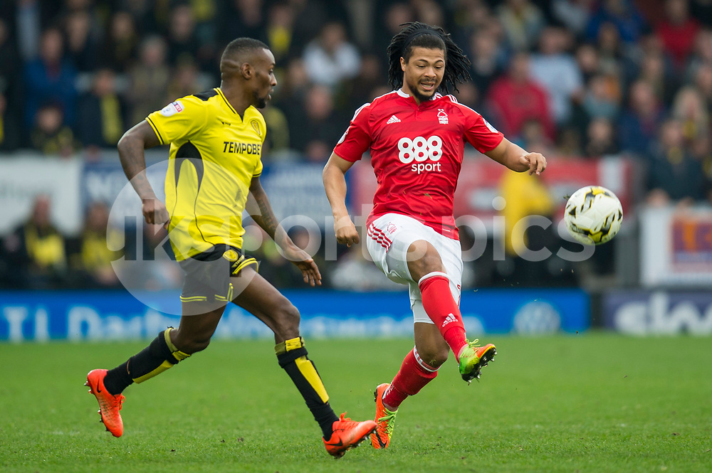 Hildeberto Pereira of Nottingham Forest beats Lloyd Dyer of Burton Albion during the EFL Sky Bet Championship match between Burton Albion and Nottingham Forest at the Pirelli Stadium, Burton upon Trent, England on 11 March 2017. Photo by Matthew Buchan.