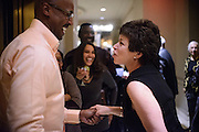 "Photo by Matt Roth.Assignment ID: 10137379A..Valerie Jarrett, senior advisor to President Obama greets an acquaintance while leaving the Buffy and Bill Cafritz, Ann and Vernon Jordan, Vicki and Roger Sant inaugural ""Bi-Partisan Celebration"" at the Dolley Madison Ballroom at the Madison Hotel in Washington, D.C. on Monday, January 21, 2013."