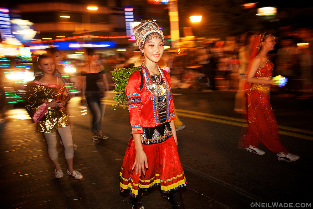 A young parader walks in the 2011 Keelung Ghost Festival