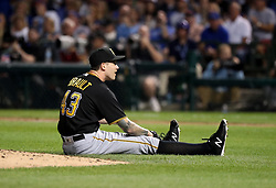 August 30, 2017 - Chicago, IL, USA - Pittsburgh Pirates starting pitcher Steven Brault (43) after he was nearly hit by a single by the Chicago Cubs' Kris Bryant during the fifth inning at Wrigley Field in Chicago on Wednesday, Aug. 30, 2017. (Credit Image: © Nuccio Dinuzzo/TNS via ZUMA Wire)