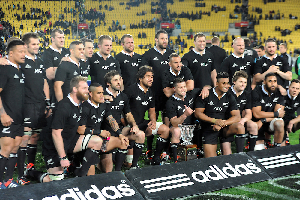 New Zealand after their win over South Africa in the Investec International rugby at Westpac Stadium, Wellington, New Zealand, Saturday, September 13, 2014.  Credit:SNPA / Ross Setford