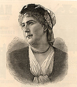 Isabel Burton (born Isabel Arundell - 1831-1896) wife of Richard Francis Burton, English explorer, adventurer and author.  Engraving from 'The Illustrated London News' (London, 22 January 1887).