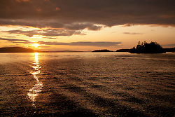 United States, Washington, San Juan Islands, Shaw island at sunset