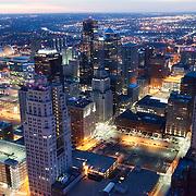Aerial photo of downtown Kansas City, Missouri skyline at dusk