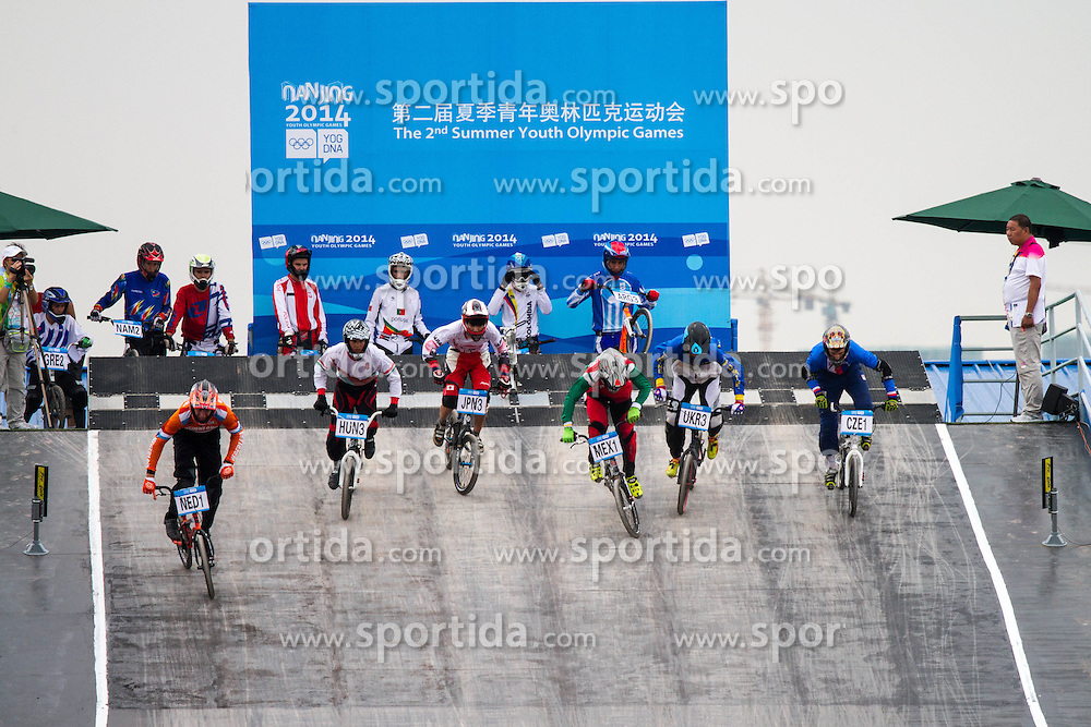 Start of BMX competition at 2nd Youth Olympic Games in Nanjing, China. Photo by: Peter Kastelic/Sportida