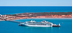 A cruise ship docked at Broome port