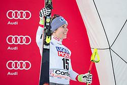 21.01.2018, Olympia delle Tofane, Cortina d Ampezzo, ITA, FIS Weltcup Ski Alpin, Super G, Damen, im Bild Nicole Schmidhofer (AUT, 3. Platz) // 3rd placed Nicole Schmidhofer of Austria during the Winner Award Ceremony of ladie' s SuperG of the Cortina FIS Ski Alpine World Cup at the Olympia delle Tofane course in Cortina d Ampezzo, Italy on 2018/01/21. EXPA Pictures © 2018, PhotoCredit: EXPA/ Dominik Angerer