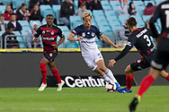 SYDNEY, AUSTRALIA - APRIL 27: Melbourne Victory midfielder Keisuke Honda (4) dribbles the ball at round 27 of the Hyundai A-League Soccer between Western Sydney Wanderers FC and Melbourne Victory on April 27, 2019 at ANZ Stadium in Sydney, Australia. (Photo by Speed Media/Icon Sportswire)