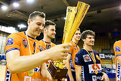 Andrej Flajs of ACH Volley celebrates with trophy during 3rd Leg volleyball match between ACH Volley and OK Calcit Volley in Final of 1. DOL Slovenian National Championship 2017/18, on April 24, 2018 in Hala Tivoli, Ljubljana, Slovenia. Photo by Matic Klansek Velej / Sportida