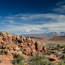 The Fiery Furnace and La Sal Mountains, Arches National Park, Utah, US